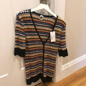 NWT M Missoni 3/4 Sleeve V-neck Button Sweater